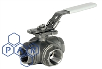 Three Piece Ball Valve - 'T' Port Female BSPT
